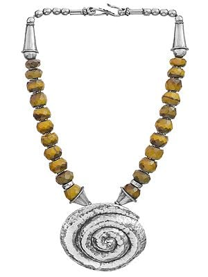 Faceted Tiger Eye Spiral Necklace