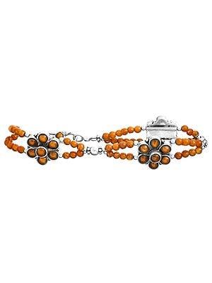 Floral Beaded Bracelet with Gems