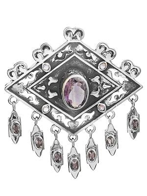 Faceted Amethyst Pendant with Dangles