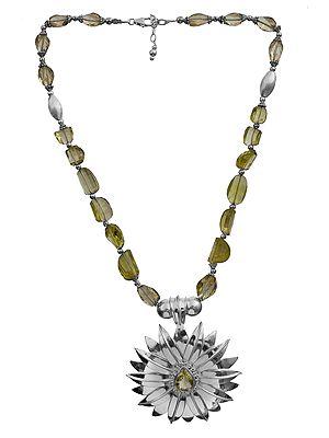 Faceted Lemon Topaz Sunflower Necklace