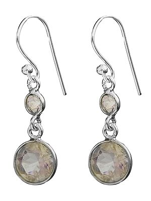 Twin Faceted Rainbow Moonstone Earrings