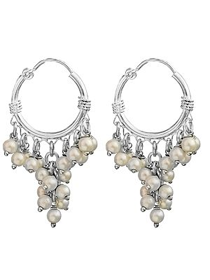 Pearl Hoop Chandelier Earrings