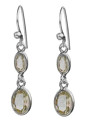 Twin Faceted Green Amethyst Earrings