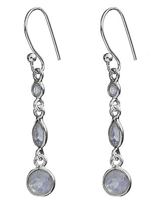 Faceted Rainbow Moonstone Earrings