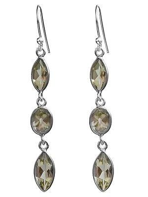 Faceted Green Amethyst Earrings