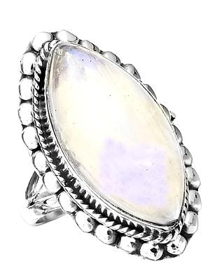 Rainbow Moonstone Marquis Ring
