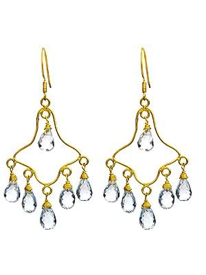 Faceted Blue Topaz Chandelier Earrings