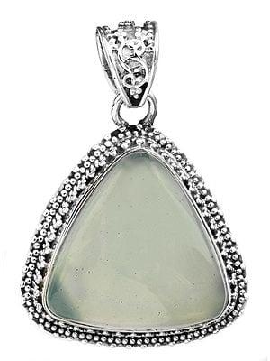 Triangle Gemstone Pendant with Granulation