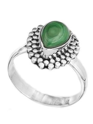 Gemstone Drop Ring with Grains