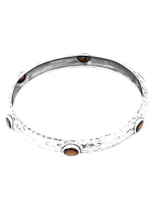 Faceted Garnet Dimple Bangle