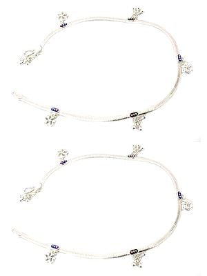 Sterling Anklets with Dangles (Price Per Pair)