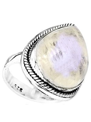 Rainbow Moonstone Drop Ring