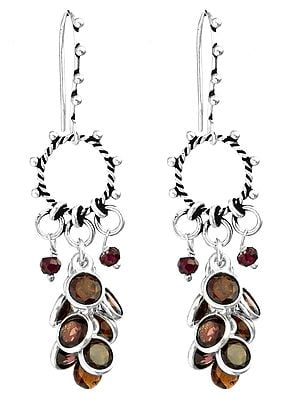 Faceted Garnet Hoop Bunch Earrings