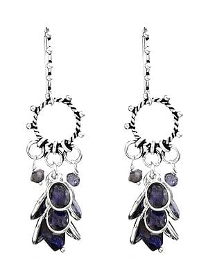 Faceted Iolite Hoop Bunch Earrings