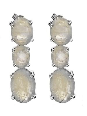 Faceted Triple Rainbow Moonstone Earrings