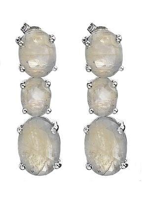 Faceted Triple Rainbow Moonstone Earrings