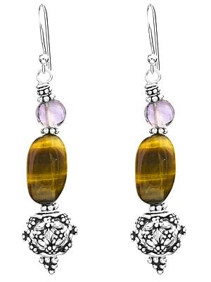 Tiger-Eye and Amethyst Earrings with Sterling Bead