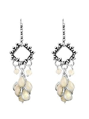 Rainbow-Moonstone Dangling Bunch Earrings