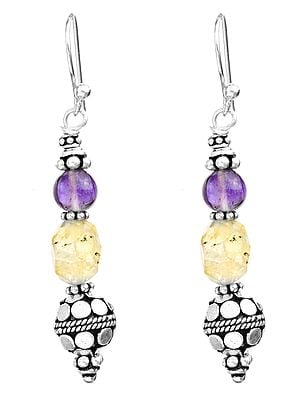 Amethyst and Faceted Citrine Earrings with Sterling Bead
