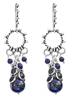Lapis-Lazuli Hoop Bunch Earrings