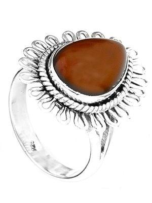 Carnelian Flower Ring
