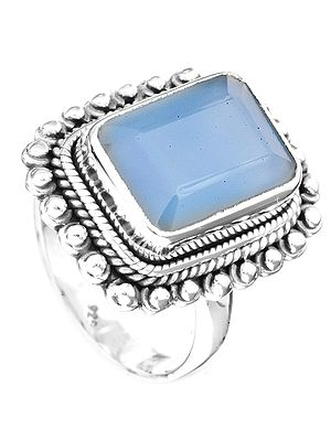 Faceted Blue Chalcedony Rectangular Ring