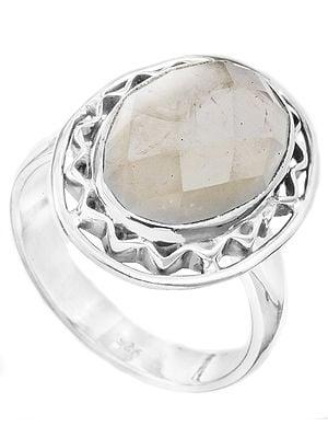 Faceted Rose Quartz Oval Ring