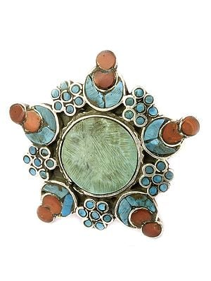 Turquoise And Coral Foliage Ring