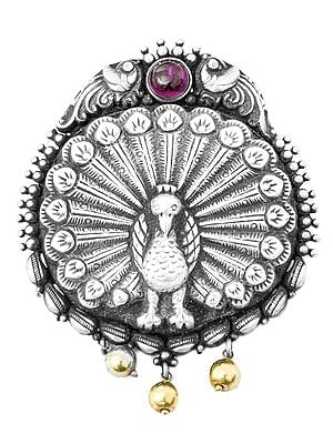 Dancing Peacock Pendant (South Indian Temple Jewelry)