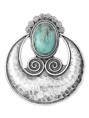Turquoise Dimple Pendant with Spiral