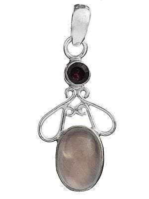 Rose Quartz Pendant with Garnet