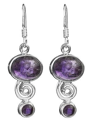 Amethyst Earrings with Spiral