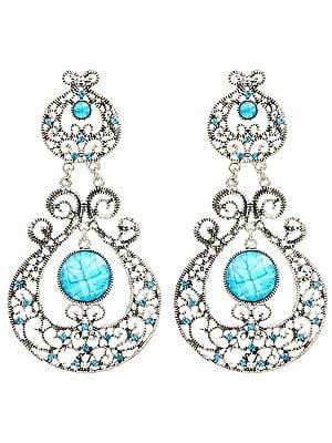 Paisleys Dangle Earrings with Faux Stones