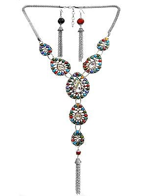 Faceted Long Tassel Necklace with Earrings Set