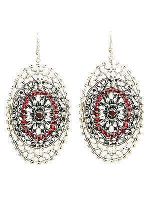 Twin-Oval Earrings with Cut Glass