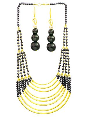 Black and Golden Eight-Strand Necklace with Earrings Set