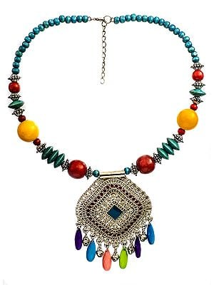 Multicolor Necklace with Ghungroos