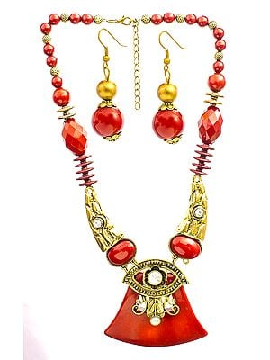 Beaded Necklace with Earrings Set