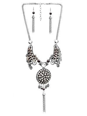 Tassel Necklace with Earrings Set