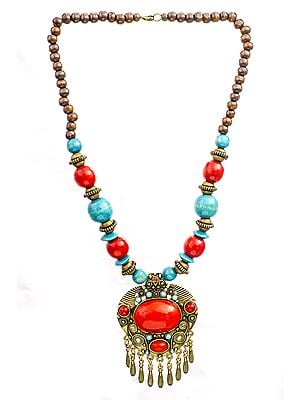 Blue and Red Beaded Necklace with Dangles
