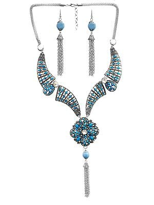Wedding Tassel Necklace with Earrings Set