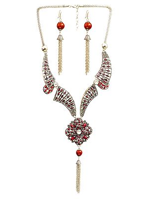 Wedding Tassel Necklace with Earrings Set
