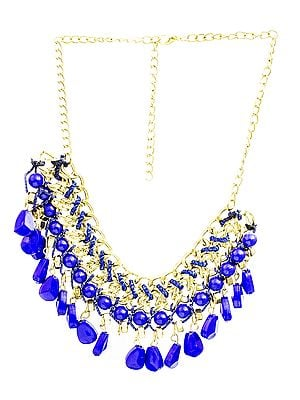 Golden Blue Necklace with Dangles