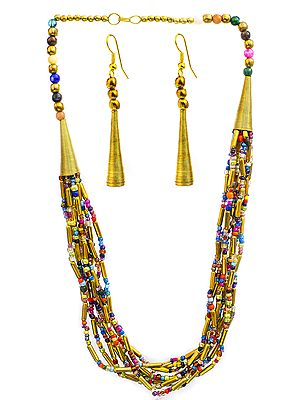 Multicolor Nine-Strand Cone Necklace with Earrings Set