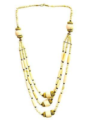 Ivory Three-Strand Beaded Necklace