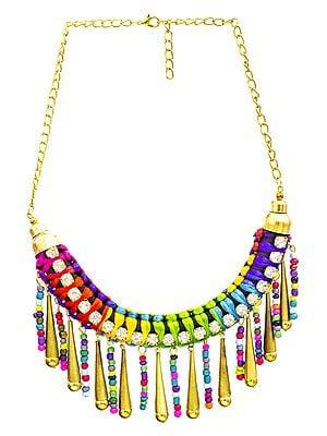 Multicolor Cord Necklace with Dangling Cones