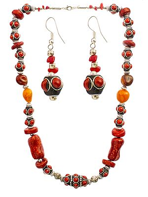 Pompeian-Red Beaded Necklace with Earrings Set