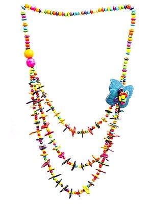 Multicolor Three-Strand Long Necklace