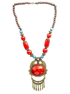 Red Beaded Necklace with Dangles