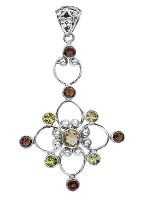 Gemstone Flower Pendant (Garnet, Peridot and Citrine)